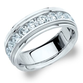 Amore 14KT White Gold Men's 2CT Milgrain Edge Diamond Wedding Band