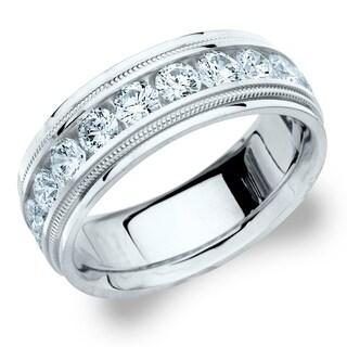Amore 18KT White Gold Men's 2CT Milgrain Edge Diamond Wedding Band