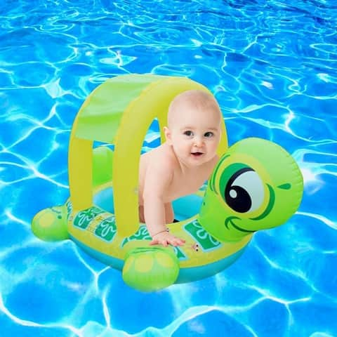 Inflatable Turtle Boat Ring with Sun Shade