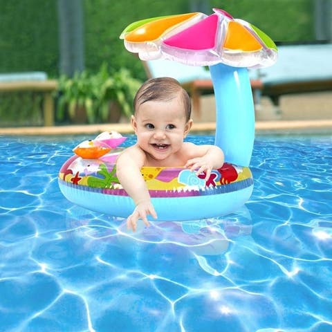 Inflatable Child Swim Ring with Sun Shade