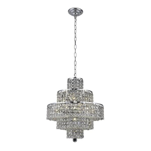 Fleur Illumination Collection Chrome Steel/Crystal 21-inch x 13-inch x 20-inch Chandelier