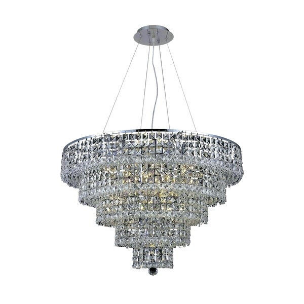 Fleur Illumination Collection Chrome Finish Steel Crystal 16-light Chandelier
