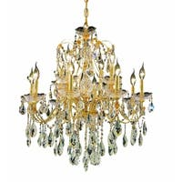 Fleur Illumination Collection Chandelier D:28in H:28in Lt:12 Gold Finish