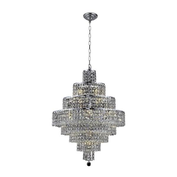 Fleur Illumination Collection Chrome Finish Steel/Crystal 26 x 35-inch 18-light Chandelier