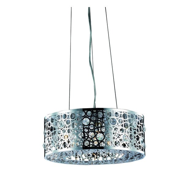 Fleur Illumination Collection Chrome-finished Steel Pendant With Royal Cut Crystals