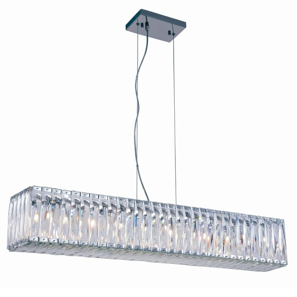 Fleur Illumination Colloection Chandelier L:40 in W:7.5in H:7in Lt:9 Chrome Finish - royal cut crystals