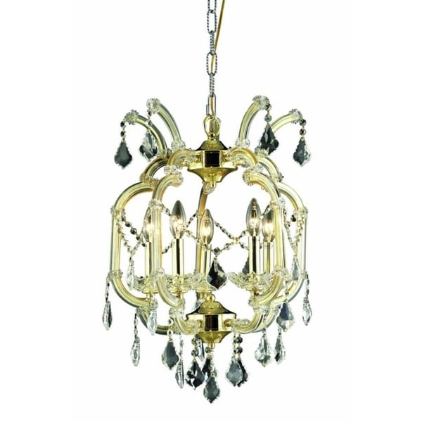 Fleur Illumination Collection Pendant D:15.5in H:23in Lt:5 Gold Finish