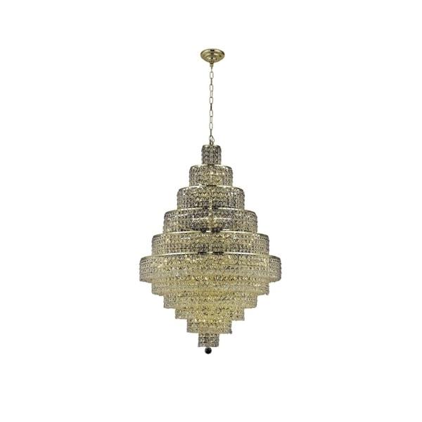 Fleur Illumination Collection Gold Finish Steel Crystal 48-inch Chandelier