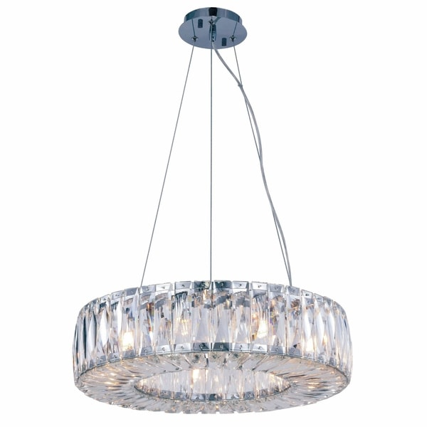 Fleur Illumination Collection Chandelier D:20.08in H:5.11in Lt:9 Chrome Finish - royal cut crystals