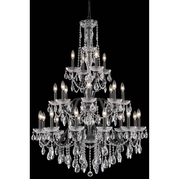 Fleur Illumination Collection Chandelier D:36in H:49in Lt:24 Dark Bronze Finish