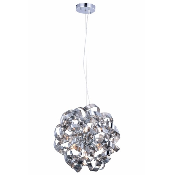 Fleur Illumination Collection Pendant D:18in H:18in Lt:7 Chrome Finish - silver shade