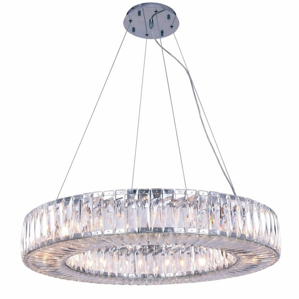 Fleur Illumination Collection Chandelier D:32in H:5.11in Lt:20 Chrome Finish - royal cut crystals