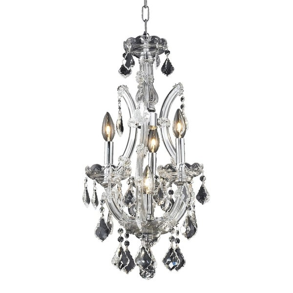 Fleur Illumination Collection Chrome Steel/Crystal 22-inch x 4-inch x 12-inch Pendant Light