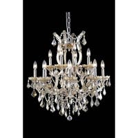 Fleur Illumination Collection Golden Teak Finish Steel Crystal 13-light Chandelier