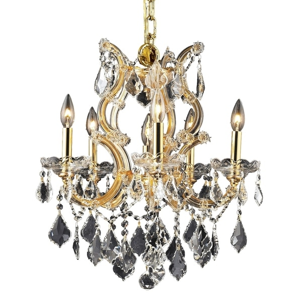 Fleur Illumination Collection Gold-finished Steel/Glass/Crystal Pendant