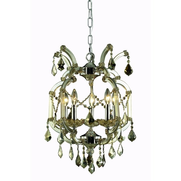 Fleur Illumination Collection Golden Teak Finish Steel Crystal 5-light Pendant