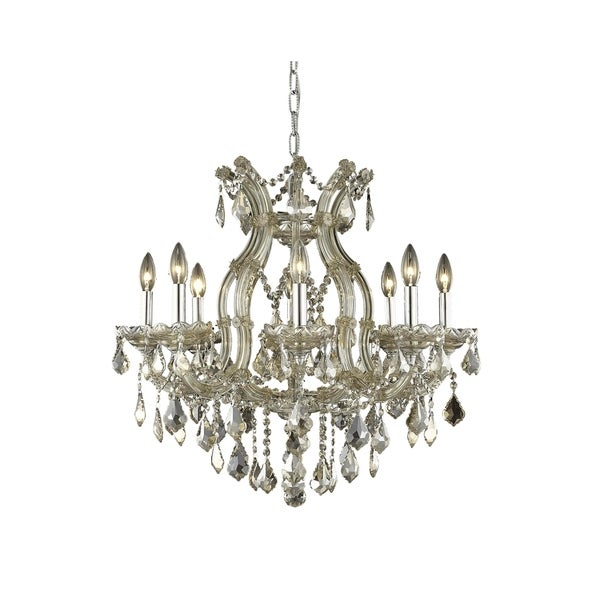 Fleur Illumination Collection Chandelier D:26in H:26in Lt:9 Golden Teak Finish