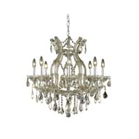 Fleur Illumination Collection Chandelier D:26in H:26in Lt:9 Golden Teak Finish