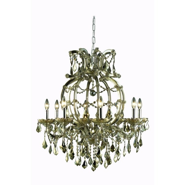 Fleur Illumination Collection Chandelier D:28.5in H:32.5in Lt:8 Golden Teak Finish