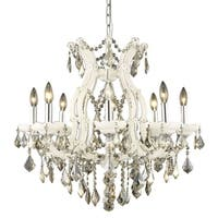 Fleur Illumination Collection Chandelier D:26in H:26in Lt:9 White Finish