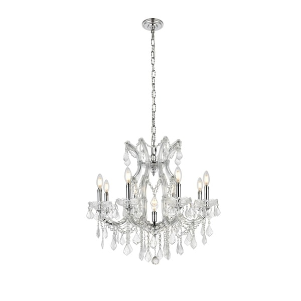 Fleur Illumination Collection Chrome Finish Steel Crystal 26-inch Chandelier
