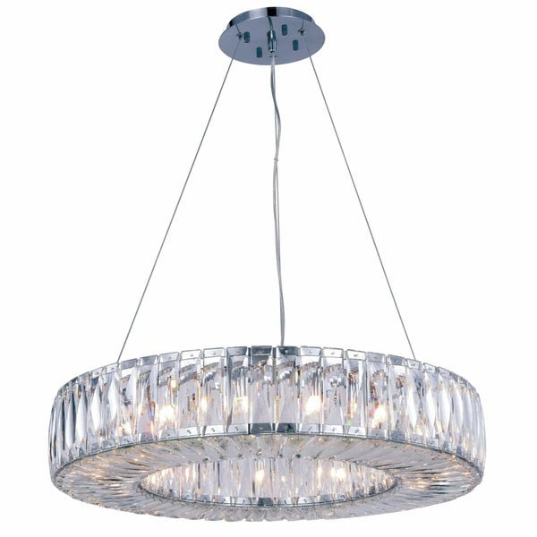 Fleur Illumination Collection Chrome Finish Stainless Steel Crystal Chandelier