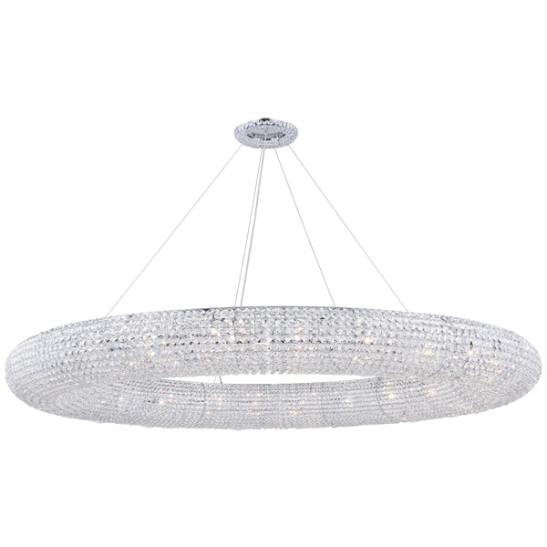 Fleur Illumination Collection Chandelier D:71in H:7in Lt:30 Chrome Finish - royal cut crystals