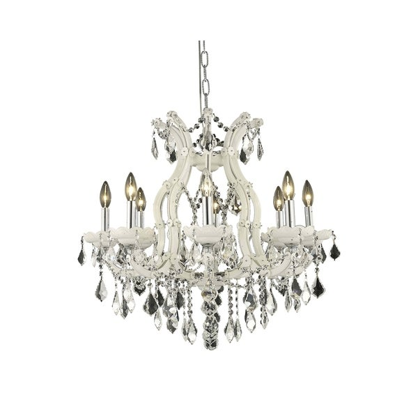 Fleur Illumination Collection White Steel Crystal 9-light Chandelier