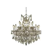 Fleur Illumination Collection Chandelier D:30in H:28in Lt:19 Golden Teak Finish