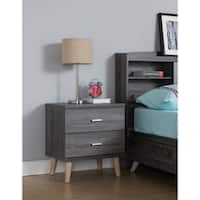 Carson Carrington Gjovik Contemporary Distressed Grey 2-drawer Nightstand