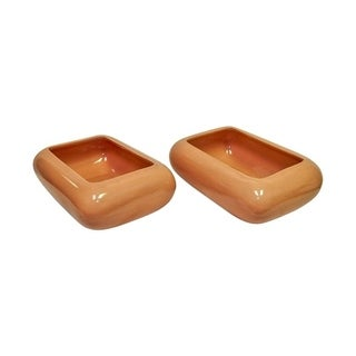 Set of 2 ceramic bowl planters