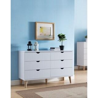 Bridgette II Modern White 6-drawer Dresser