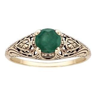 Viducci 10k Yellow Gold Vintage Style Genuine Emerald Scroll Ring