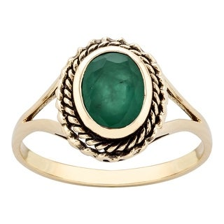 Viducci 10k Yellow Gold Vintage Style Genuine Emerald Split-Shank Ring