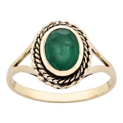 Viducci 10k Yellow Gold Vintage Style Genuine Emerald Split-Shank Ring