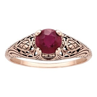 Viducci 10k Rose Gold Vintage Style Genuine Ruby Scroll Ring