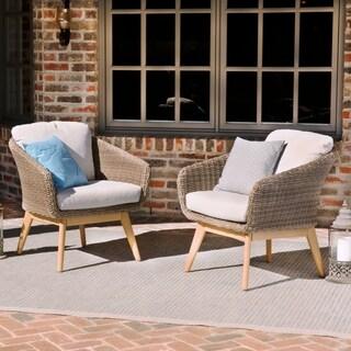 Harper Blvd Allerton Multitonal Beige Cushioned Outdoor Armchairs (Set of 2)