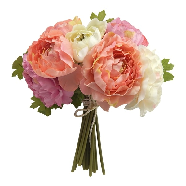 """10"""" Ranunculus Bouquet Two-Tone Pink - two-tone pink"""