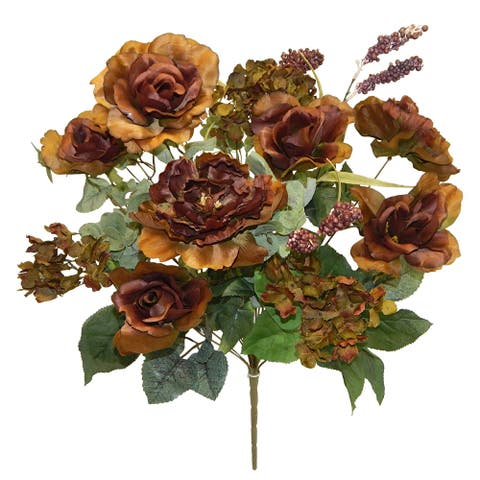 "25"" Tall Rose/Hydrangea/Peony Bush X 18 - chocolate"