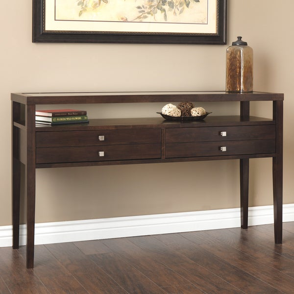 Aristo halifax brown console table free shipping today for 10 inch sofa table