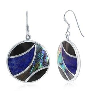 La Preciosa Sterling Silver Natural Abalone, Onyx, & Lapis Round Earrings - Black/Blue/Brown
