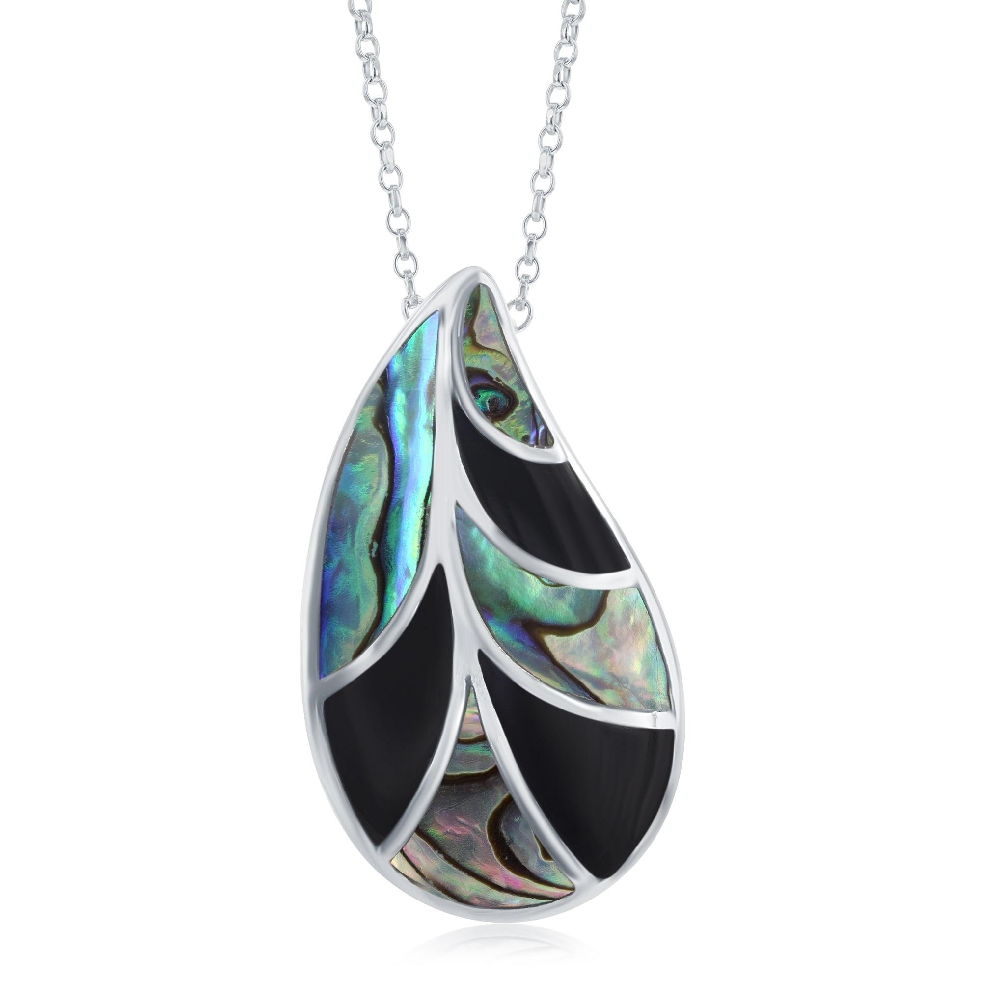 Sterling Silver Natural Carved Black Onyx Pendant Necklace STERLING SILVER 18 chain Carved Stone pendant Natural Stone black onyx Pendant