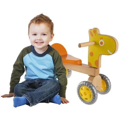 Happy Trails Walk and Ride Wooden Giraffe-Balance Bike