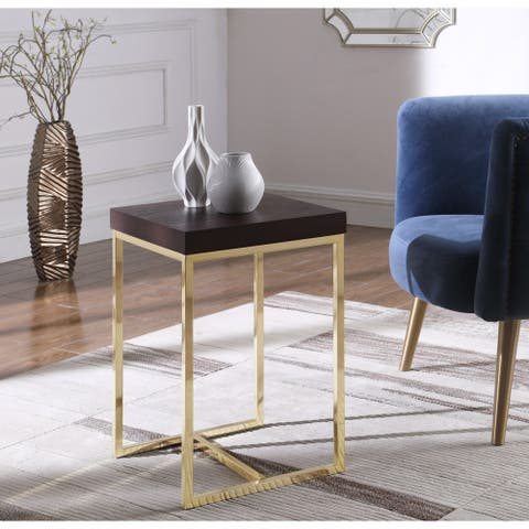 Chic Home Lame Nightstand Side Table with Ash Veneer Top
