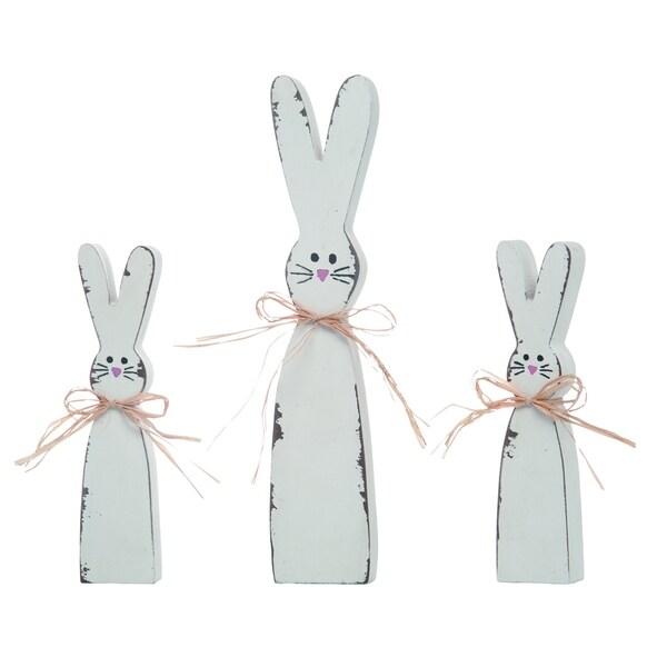 Transpac Wood White Easter Shabby Chic Bunny Decor Set of 3