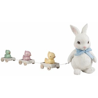 Transpac Resin Bunny & Duck Parade Figurine Set of 4