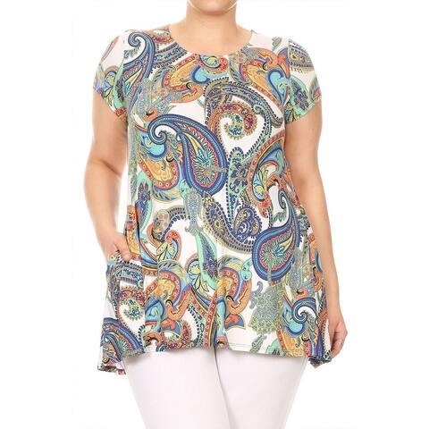 Women's Plus Size Multicolor Tropical Pattern Top