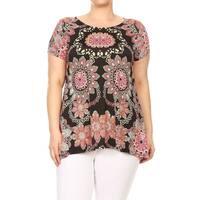 Women's Plus Size Mandala Pattern Top