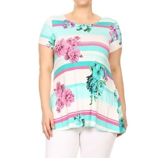 Women's Plus Size Striped and Floral Pattern Top