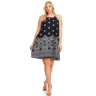 Women's Plus Size Abstract Floral Sleeveless Dress (More options available)